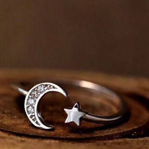 {THEA} crescent moon star sterling silver ring